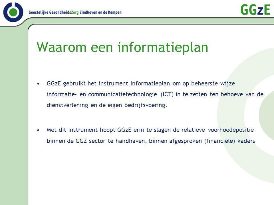 Waarom een informatieplan GGzE gebruikt het instrument Informatieplan om op beheerste wijze informatie- en communicatietechnologie (ICT) in te zetten