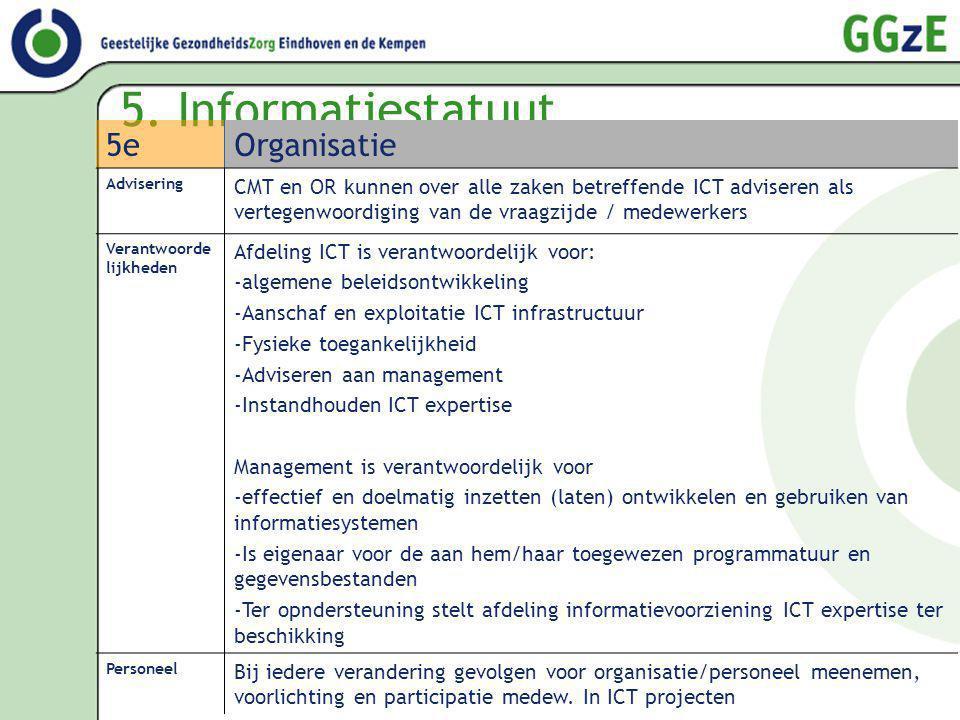 5. Informatiestatuut 5eOrganisatie Advisering CMT en OR kunnen over alle zaken betreffende ICT adviseren als vertegenwoordiging van de vraagzijde / me
