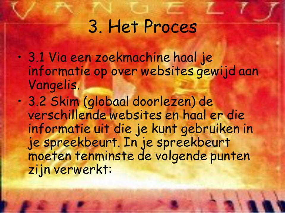 3. Het Proces 3.1 Via een zoekmachine haal je informatie op over websites gewijd aan Vangelis. 3.2 Skim (globaal doorlezen) de verschillende websites