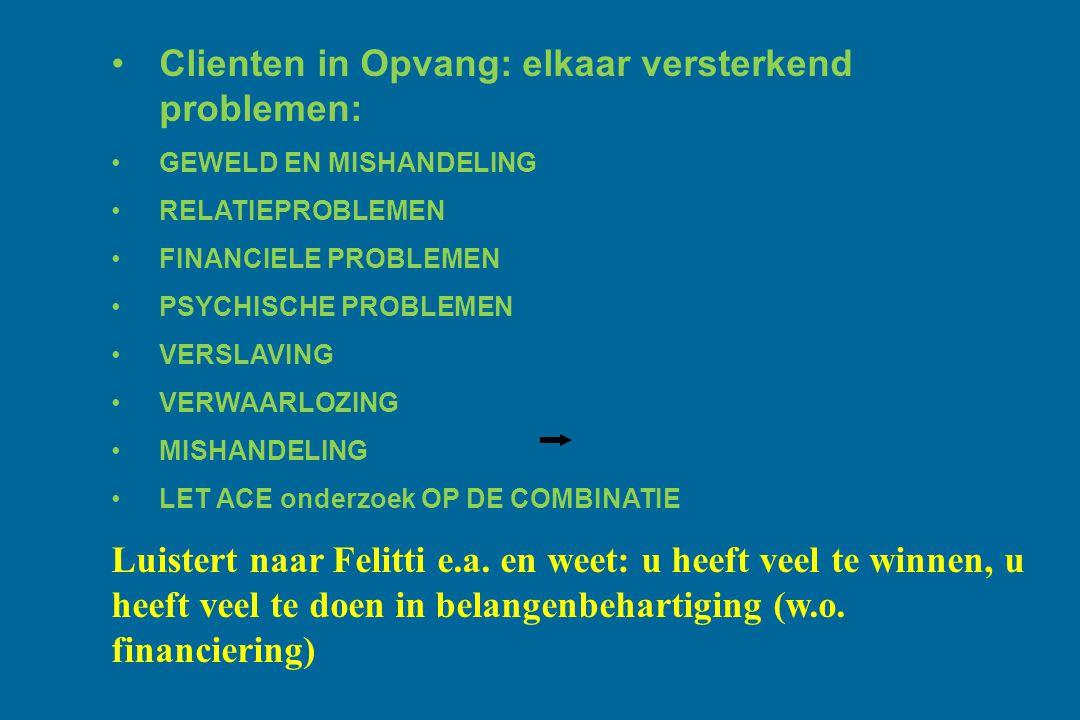 Clienten in Opvang: elkaar versterkend problemen: GEWELD EN MISHANDELING RELATIEPROBLEMEN FINANCIELE PROBLEMEN PSYCHISCHE PROBLEMEN VERSLAVING VERWAAR