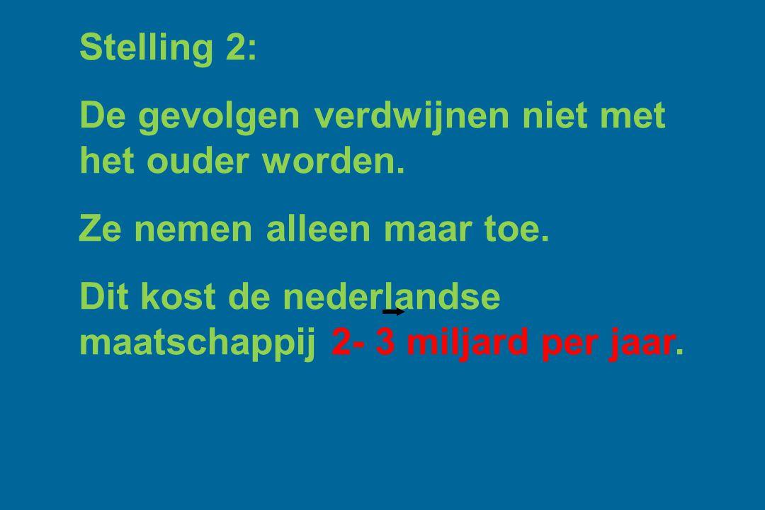 Stelling 2: De gevolgen verdwijnen niet met het ouder worden. Ze nemen alleen maar toe. Dit kost de nederlandse maatschappij 2- 3 miljard per jaar.