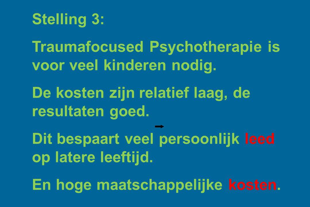 Stelling 3: Traumafocused Psychotherapie is voor veel kinderen nodig. De kosten zijn relatief laag, de resultaten goed. Dit bespaart veel persoonlijk