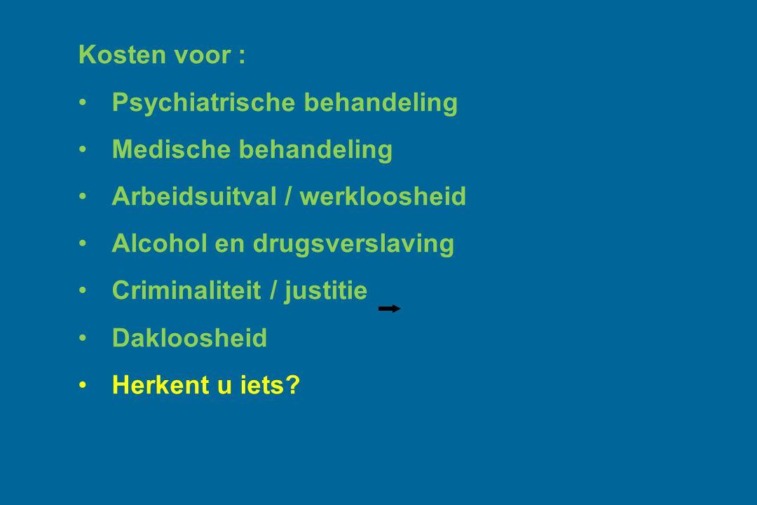 Kosten voor : Psychiatrische behandeling Medische behandeling Arbeidsuitval / werkloosheid Alcohol en drugsverslaving Criminaliteit / justitie Dakloos
