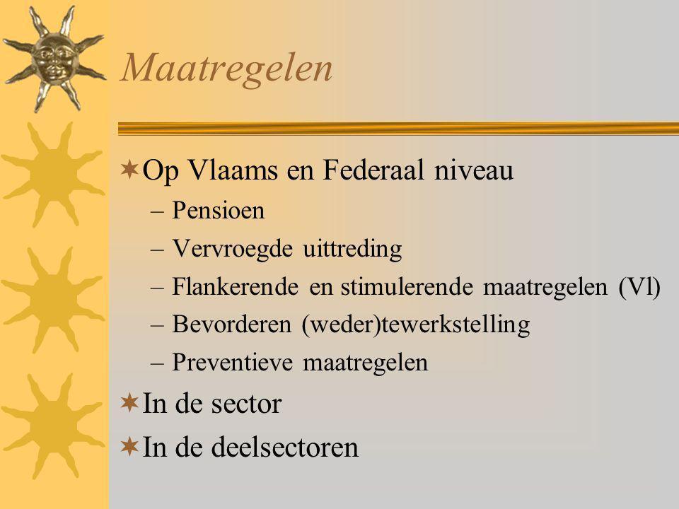 Maatregelen  Op Vlaams en Federaal niveau –Pensioen –Vervroegde uittreding –Flankerende en stimulerende maatregelen (Vl) –Bevorderen (weder)tewerkstelling –Preventieve maatregelen  In de sector  In de deelsectoren