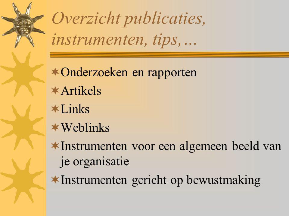 Overzicht publicaties, instrumenten, tips,…  Onderzoeken en rapporten  Artikels  Links  Weblinks  Instrumenten voor een algemeen beeld van je organisatie  Instrumenten gericht op bewustmaking