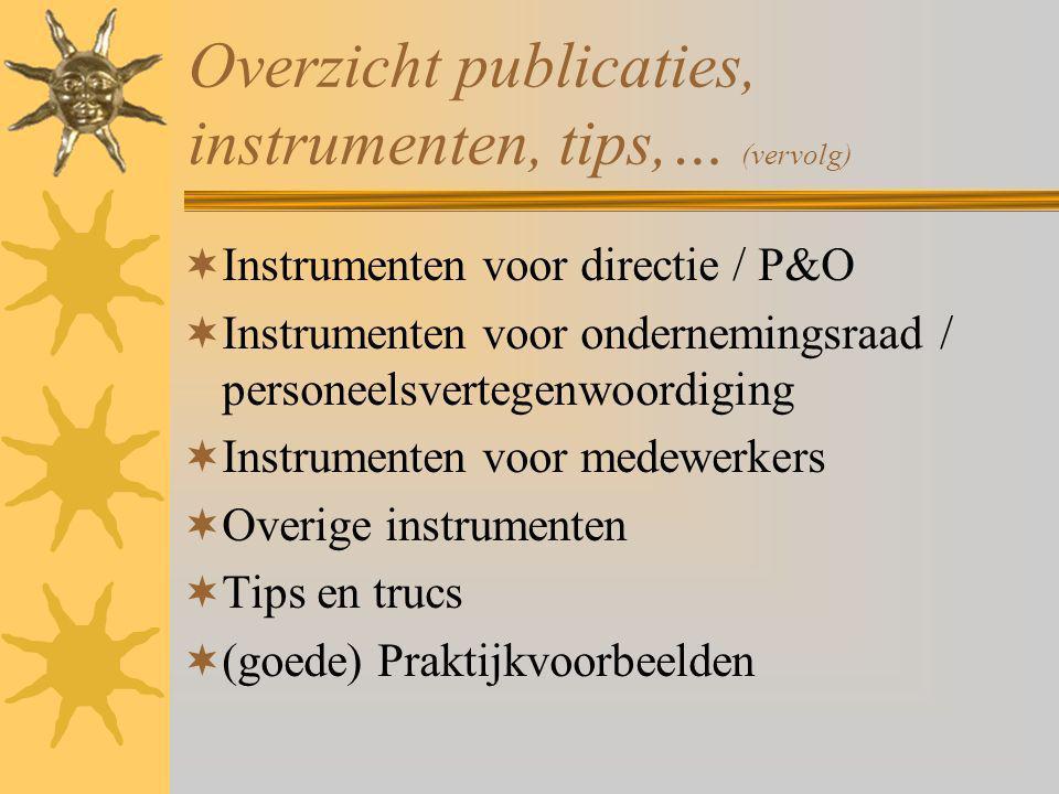 Overzicht publicaties, instrumenten, tips,… (vervolg)  Instrumenten voor directie / P&O  Instrumenten voor ondernemingsraad / personeelsvertegenwoor