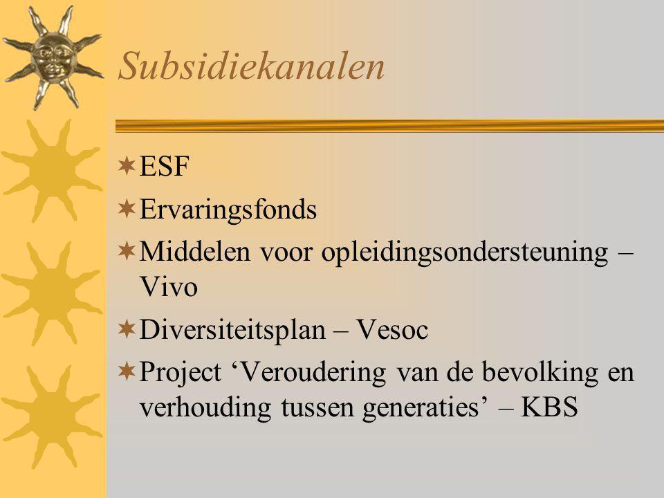 Subsidiekanalen  ESF  Ervaringsfonds  Middelen voor opleidingsondersteuning – Vivo  Diversiteitsplan – Vesoc  Project 'Veroudering van de bevolking en verhouding tussen generaties' – KBS
