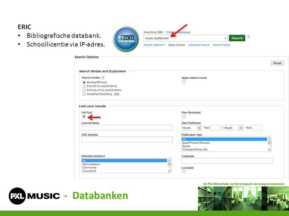 ERIC Bibliografische databank. Schoollicentie via IP-adres. - Databanken