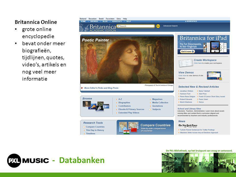 Britannica Online grote online encyclopedie bevat onder meer biografieën, tijdlijnen, quotes, video's, artikels en nog veel meer informatie - Databank