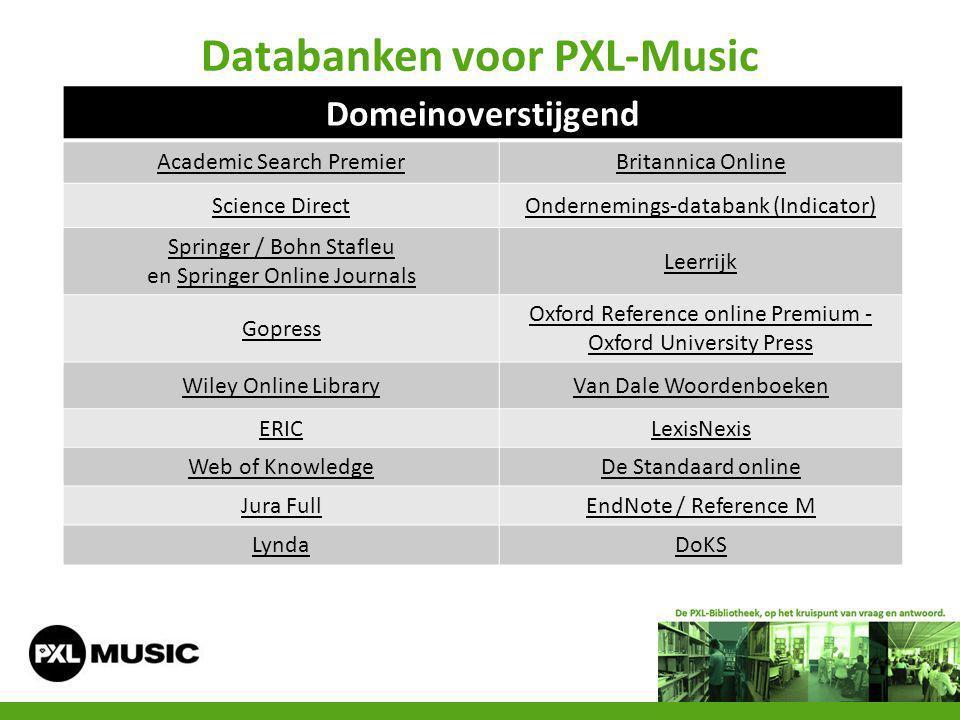 Databanken voor PXL-Music Domeinoverstijgend Academic Search PremierBritannica Online Science DirectOndernemings-databank (Indicator) Springer / Bohn
