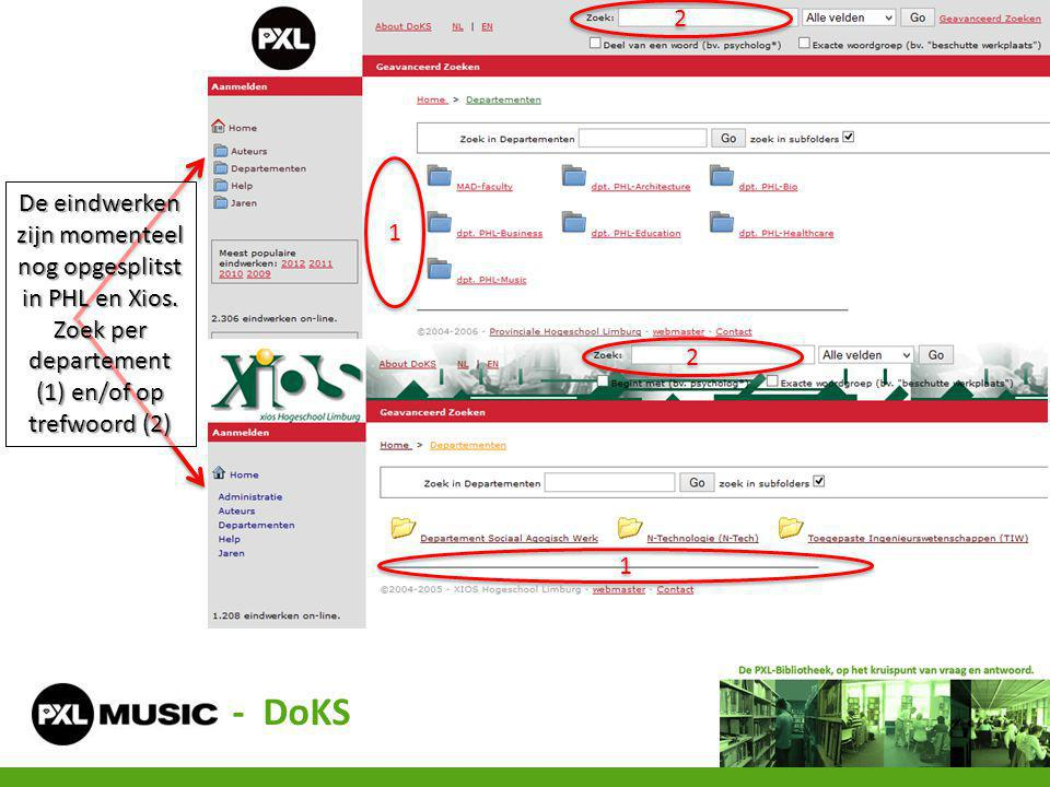 1 1 1 1 2 2 2 2 De eindwerken zijn momenteel nog opgesplitst in PHL en Xios. Zoek per departement (1) en/of op trefwoord (2) - DoKS
