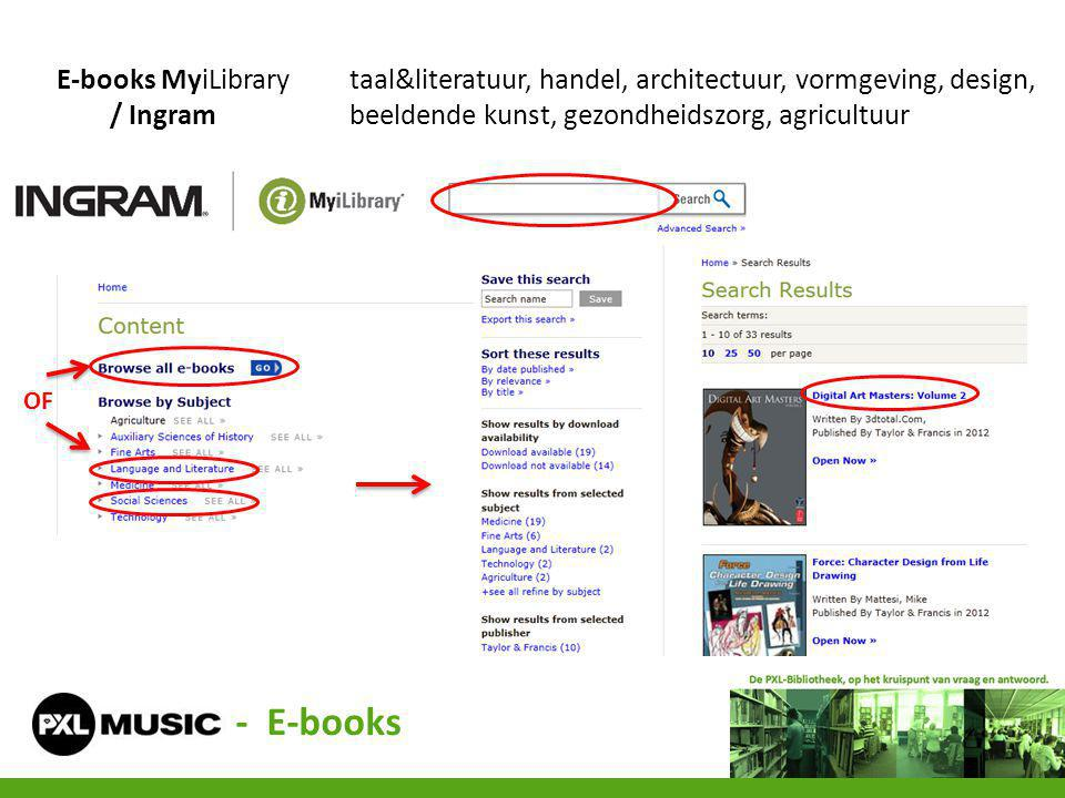 E-books MyiLibrary taal&literatuur, handel, architectuur, vormgeving, design, / Ingram beeldende kunst, gezondheidszorg, agricultuur OF - E-books