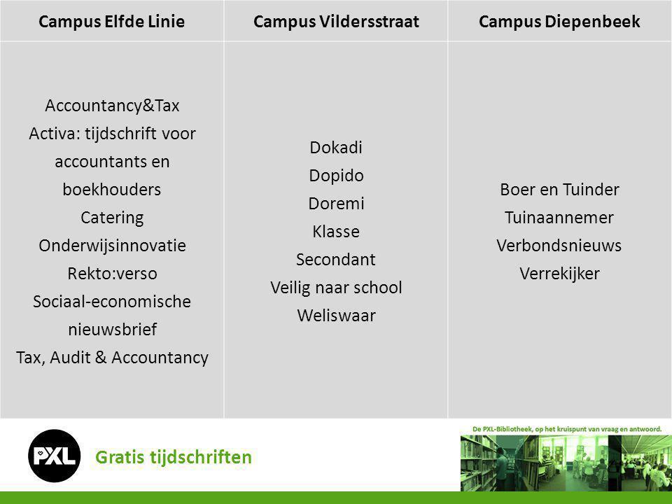 Gratis tijdschriften Campus Elfde LinieCampus VildersstraatCampus Diepenbeek Accountancy&Tax Activa: tijdschrift voor accountants en boekhouders Cater
