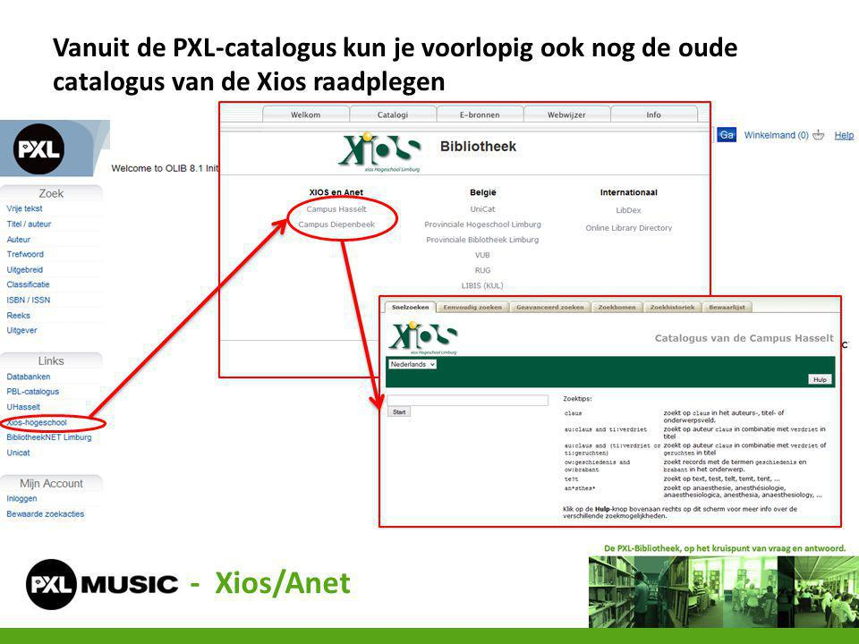 - Xios/Anet Vanuit de PXL-catalogus kun je voorlopig ook nog de oude catalogus van de Xios raadplegen