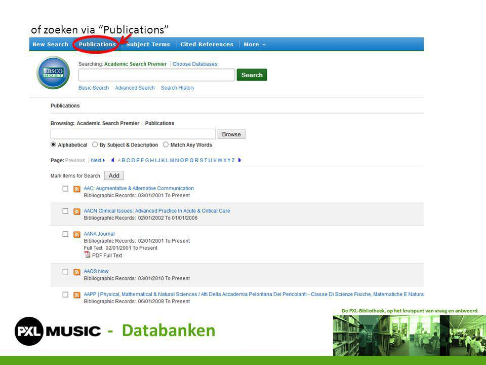 "of zoeken via ""Publications"" - Databanken"