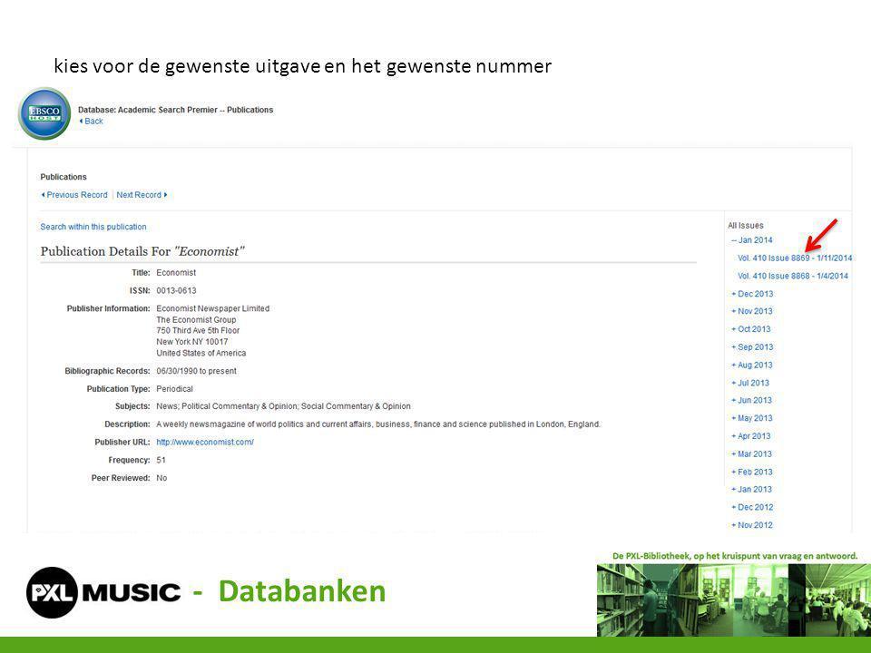 kies voor de gewenste uitgave en het gewenste nummer - Databanken