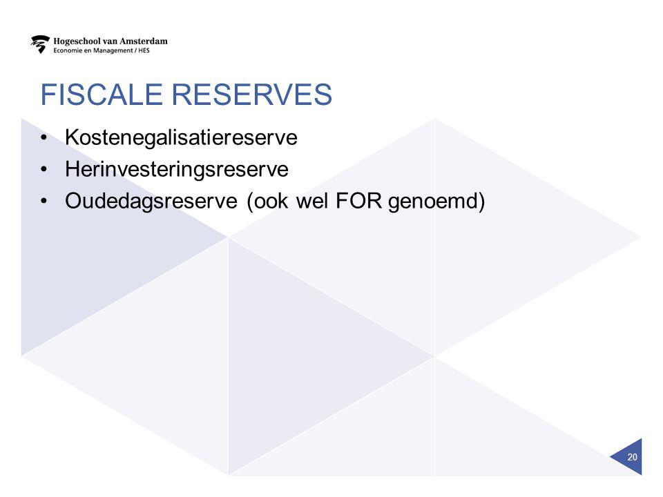 FISCALE RESERVES Kostenegalisatiereserve Herinvesteringsreserve Oudedagsreserve (ook wel FOR genoemd) 20