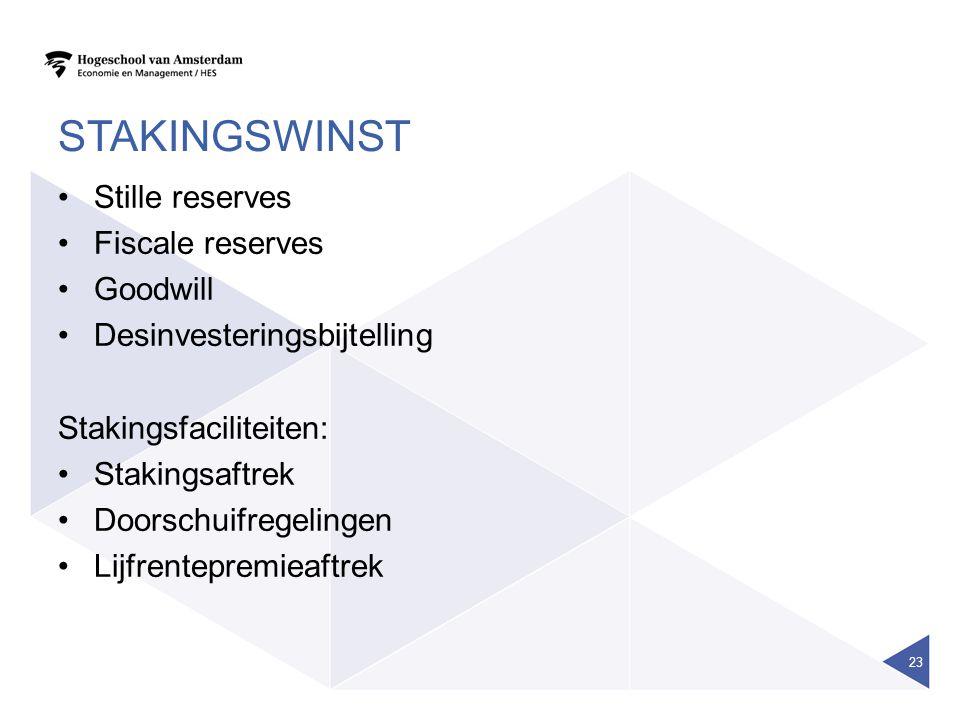 STAKINGSWINST Stille reserves Fiscale reserves Goodwill Desinvesteringsbijtelling Stakingsfaciliteiten: Stakingsaftrek Doorschuifregelingen Lijfrentep
