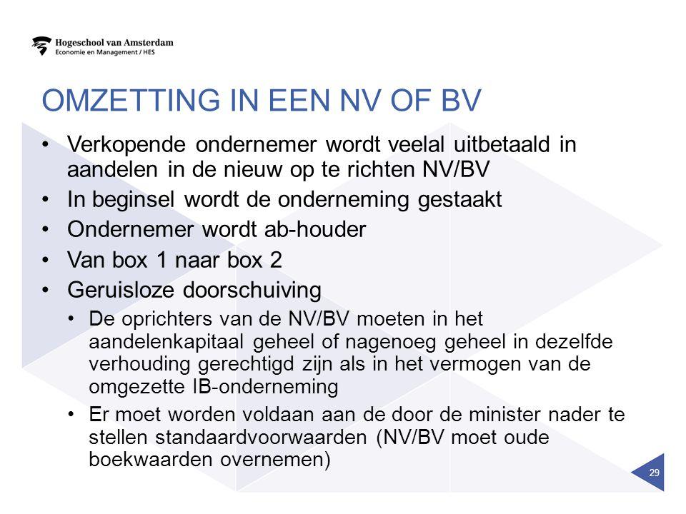 OMZETTING IN EEN NV OF BV Verkopende ondernemer wordt veelal uitbetaald in aandelen in de nieuw op te richten NV/BV In beginsel wordt de onderneming g