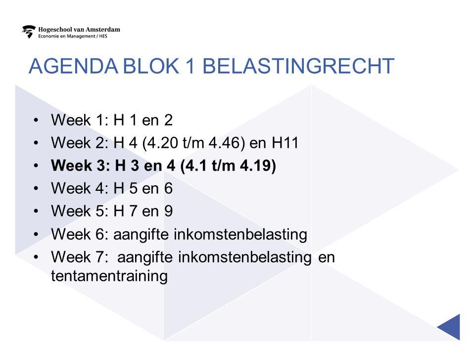 AGENDA BLOK 1 BELASTINGRECHT Week 1: H 1 en 2 Week 2: H 4 (4.20 t/m 4.46) en H11 Week 3: H 3 en 4 (4.1 t/m 4.19) Week 4: H 5 en 6 Week 5: H 7 en 9 Wee