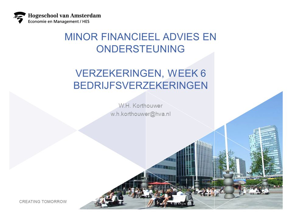 MINOR FINANCIEEL ADVIES EN ONDERSTEUNING VERZEKERINGEN, WEEK 6 BEDRIJFSVERZEKERINGEN W.H. Korthouwer w.h.korthouwer@hva.nl 1