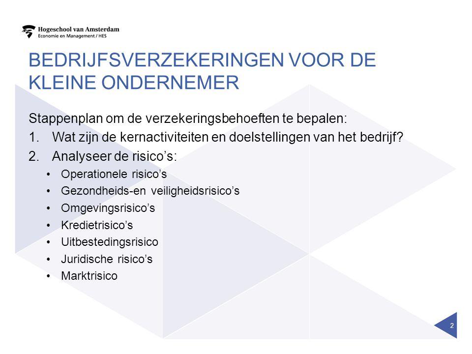 BEDRIJFSVERZEKERINGEN VOOR DE KLEINE ONDERNEMER Stappenplan om de verzekeringsbehoeften te bepalen: 1.Wat zijn de kernactiviteiten en doelstellingen v