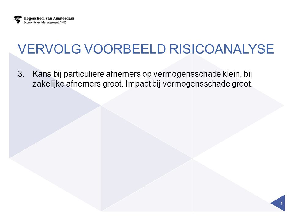 VERVOLG VOORBEELD RISICOANALYSE 3.Kans bij particuliere afnemers op vermogensschade klein, bij zakelijke afnemers groot.