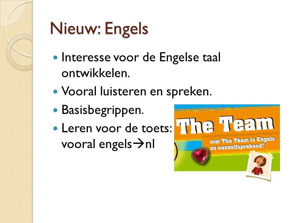 Nieuw: Engels Interesse voor de Engelse taal ontwikkelen. Vooral luisteren en spreken. Basisbegrippen. Leren voor de toets: vooral engels  nl