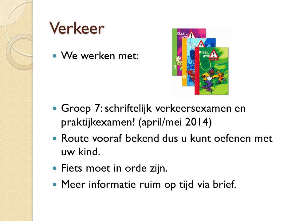 Verkeer We werken met: Groep 7: schriftelijk verkeersexamen en praktijkexamen! (april/mei 2014) Route vooraf bekend dus u kunt oefenen met uw kind. Fi