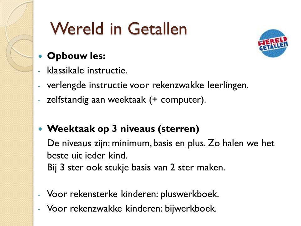 Wereld in Getallen Opbouw les: - klassikale instructie. - verlengde instructie voor rekenzwakke leerlingen. - zelfstandig aan weektaak (+ computer). W