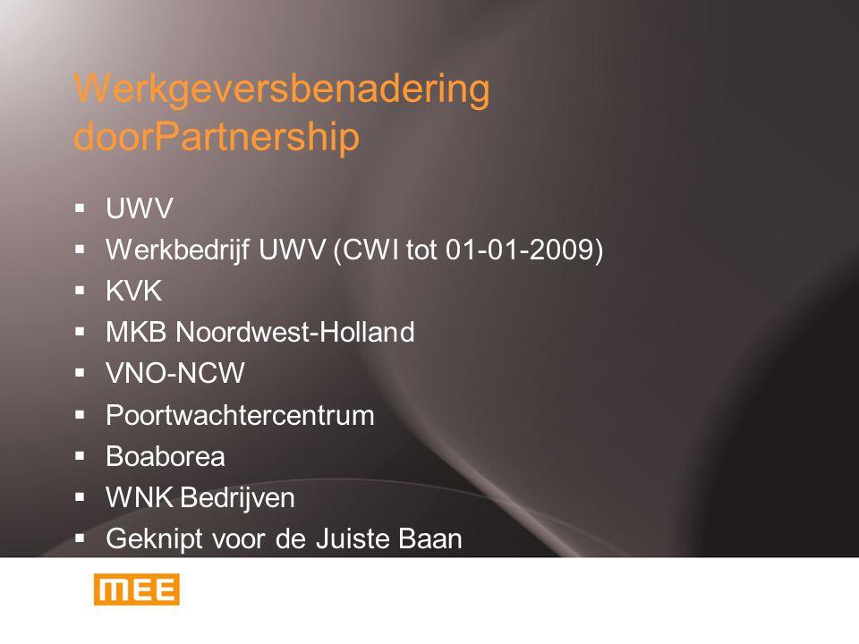 Werkgeversbenadering doorPartnership  UWV  Werkbedrijf UWV (CWI tot 01-01-2009)  KVK  MKB Noordwest-Holland  VNO-NCW  Poortwachtercentrum  Boaborea  WNK Bedrijven  Geknipt voor de Juiste Baan