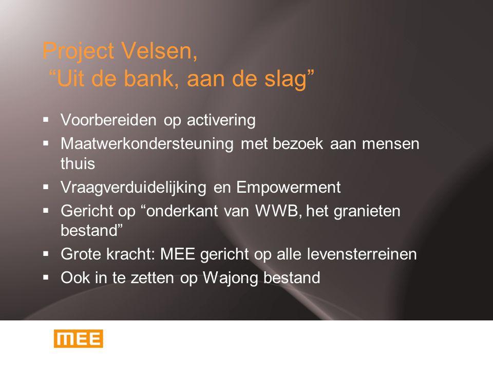 """Project Velsen, """"Uit de bank, aan de slag""""  Voorbereiden op activering  Maatwerkondersteuning met bezoek aan mensen thuis  Vraagverduidelijking en"""