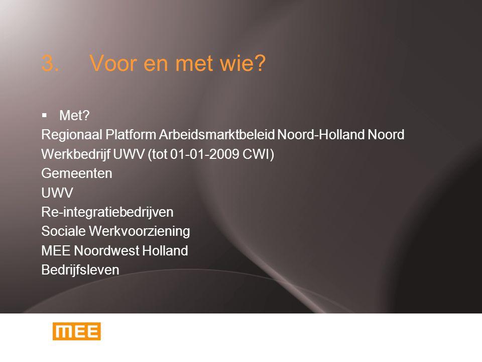 3. Voor en met wie?  Met? Regionaal Platform Arbeidsmarktbeleid Noord-Holland Noord Werkbedrijf UWV (tot 01-01-2009 CWI) Gemeenten UWV Re-integratieb