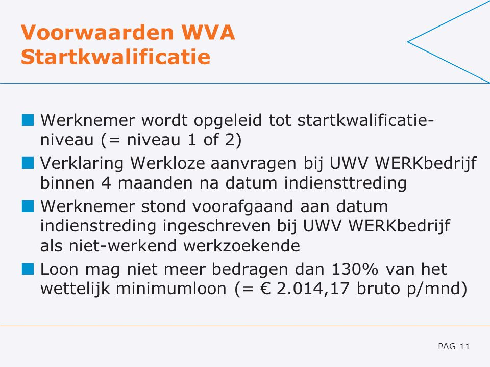 Voorwaarden WVA Startkwalificatie Werknemer wordt opgeleid tot startkwalificatie- niveau (= niveau 1 of 2) Verklaring Werkloze aanvragen bij UWV WERKb