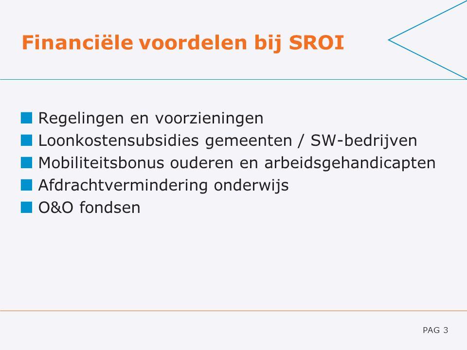 Financiële voordelen bij SROI Regelingen en voorzieningen Loonkostensubsidies gemeenten / SW-bedrijven Mobiliteitsbonus ouderen en arbeidsgehandicapte