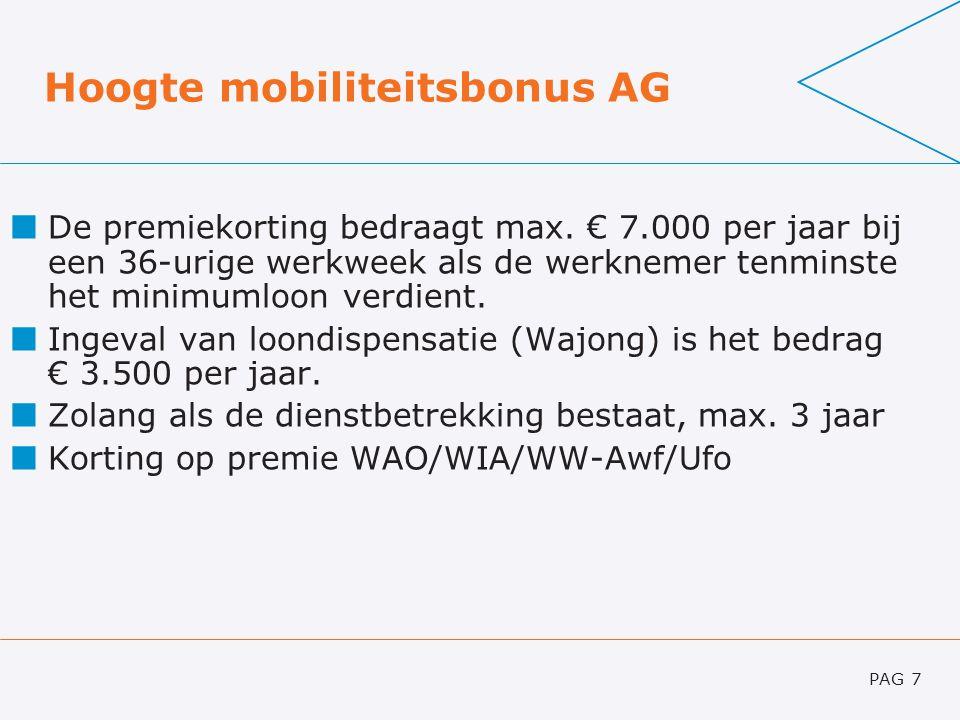 Hoogte mobiliteitsbonus AG De premiekorting bedraagt max. € 7.000 per jaar bij een 36-urige werkweek als de werknemer tenminste het minimumloon verdie