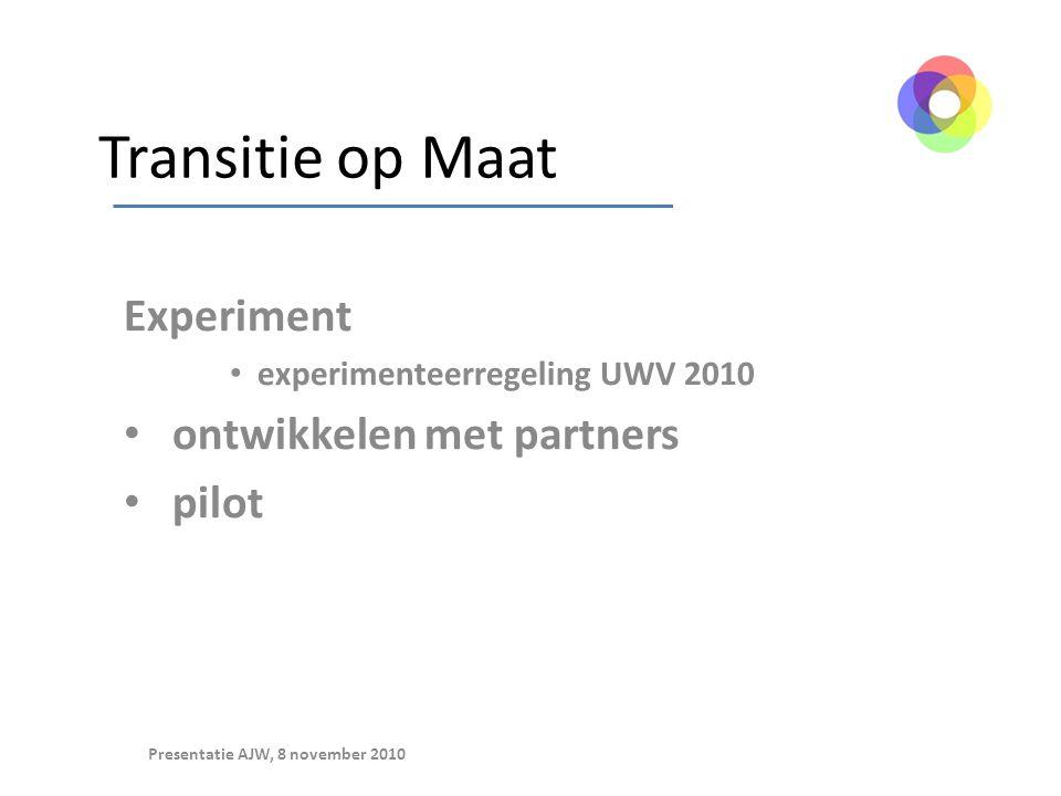Transitie op Maat Experiment experimenteerregeling UWV 2010 ontwikkelen met partners pilot Presentatie AJW, 8 november 2010