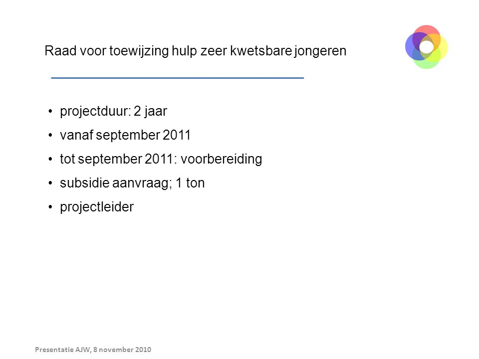 Presentatie AJW, 8 november 2010 Raad voor toewijzing hulp zeer kwetsbare jongeren projectduur: 2 jaar vanaf september 2011 tot september 2011: voorbereiding subsidie aanvraag; 1 ton projectleider