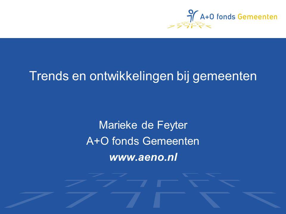 Trends en ontwikkelingen bij gemeenten Marieke de Feyter A+O fonds Gemeenten www.aeno.nl