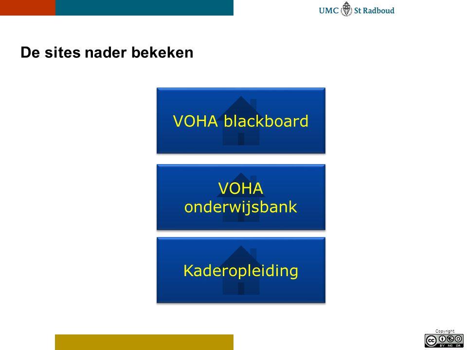 Copyright De sites nader bekeken VOHA blackboard VOHA onderwijsbank VOHA onderwijsbank Kaderopleiding
