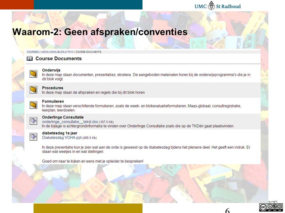 Copyright 6 Waarom-2: Geen afspraken/conventies