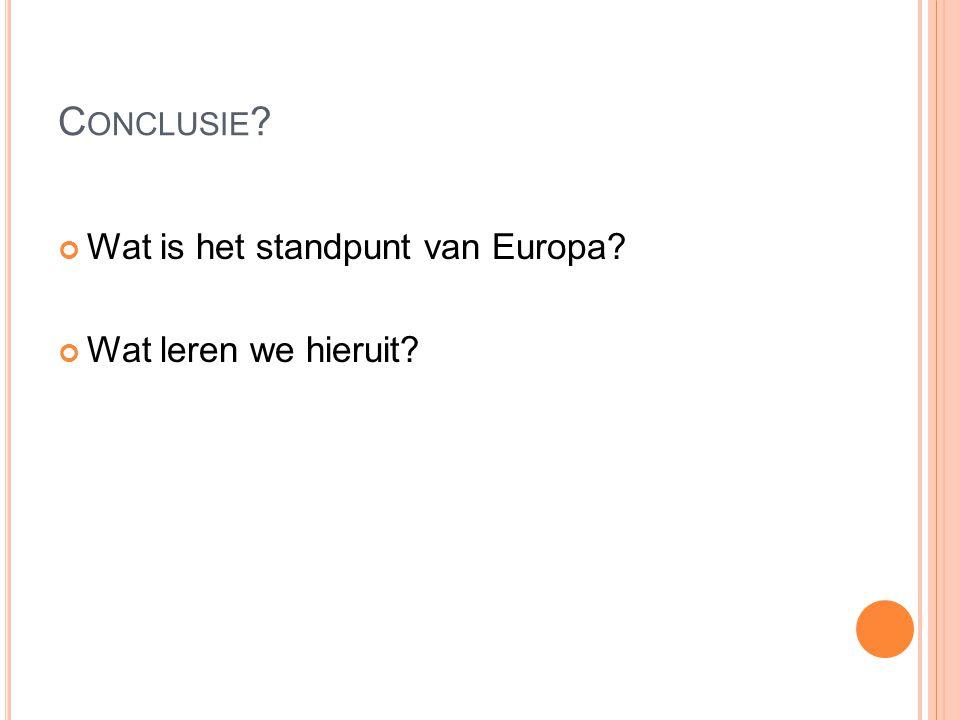 Wat is het standpunt van Europa Wat leren we hieruit C ONCLUSIE