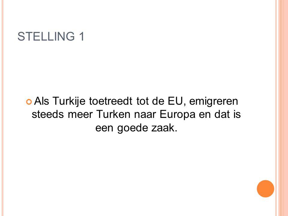 STELLING 1 Als Turkije toetreedt tot de EU, emigreren steeds meer Turken naar Europa en dat is een goede zaak.