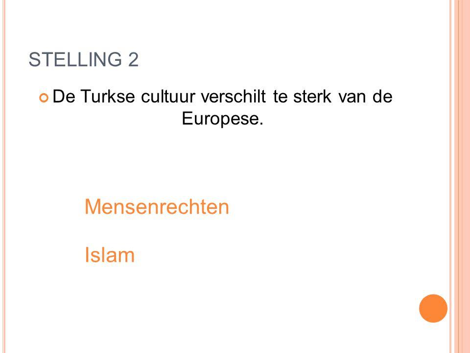 STELLING 2 De Turkse cultuur verschilt te sterk van de Europese. Mensenrechten Islam
