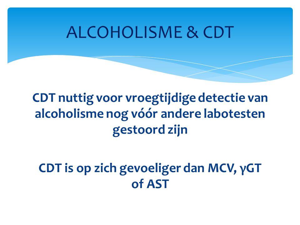 CDT nuttig voor vroegtijdige detectie van alcoholisme nog vόόr andere labotesten gestoord zijn CDT is op zich gevoeliger dan MCV, γGT of AST ALCOHOLIS