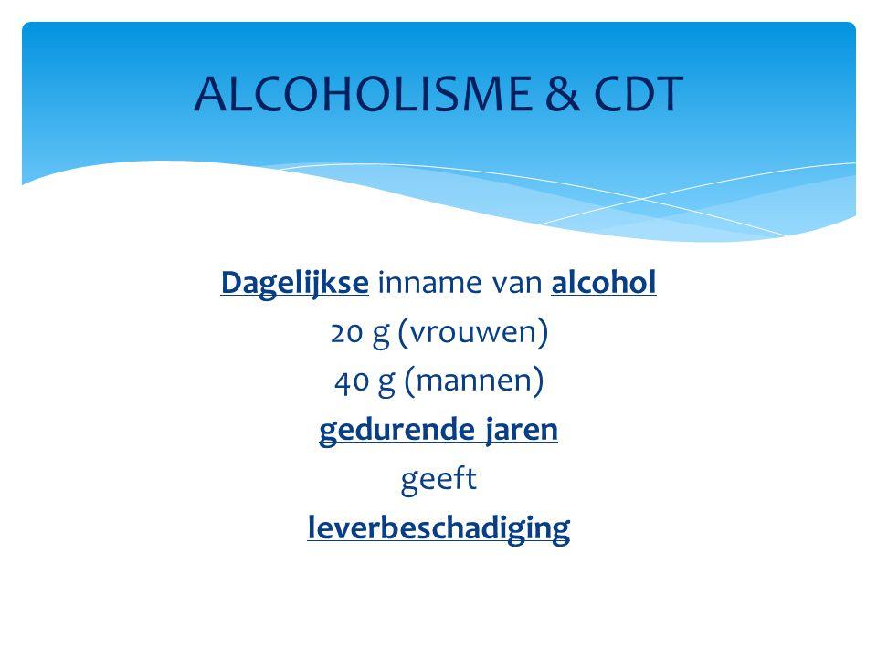 Dagelijkse inname van alcohol 20 g (vrouwen) 40 g (mannen) gedurende jaren geeft leverbeschadiging ALCOHOLISME & CDT