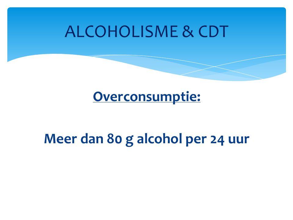 80 g alcohol: 2 liter bier (3,5 vol %) 1 fles wijn (10 vol %) 0,2 liter whisky (40 vol %) ALCOHOLISME & CDT