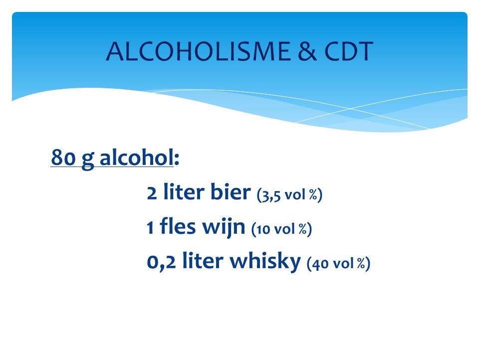  Dagelijkse inname van 50 à 60 g ethanol gedurende 1 week geeft stijging van CDT  Geïsoleerd overdadig alcoholgebruik geeft geen CDT-stijging ALCOHOLISME & CDT