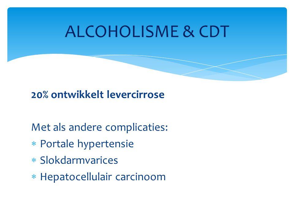 20% ontwikkelt levercirrose Met als andere complicaties:  Portale hypertensie  Slokdarmvarices  Hepatocellulair carcinoom ALCOHOLISME & CDT
