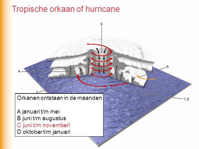 Orkanen ontstaan in de maanden A januari t/m mei B juni t/m augustus C juni t/m november D oktober t/m januari Orkanen ontstaan in de maanden A januar